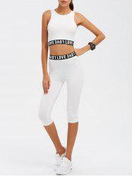 Love Graphic Tank Top and Pants Twinset - WHITE