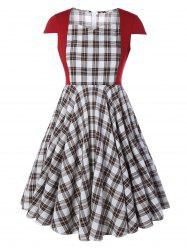 Plus Size Checked Pin Up Midi Dress