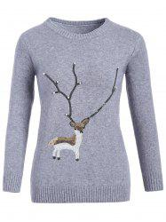 Christmas Reindeer Graphic Sequined Sweater