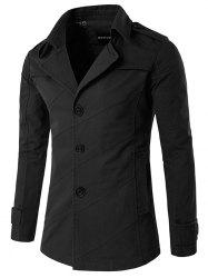 Splicing Design Single Breasted Coat - BLACK