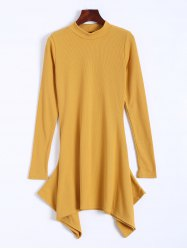 High Neck Long Sleeve Ribbed Asymmetric Dress