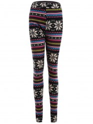 Snowflake Print Flocking Skintight Leggings - COLORMIX