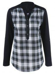 Plaid Trim Single Breasted T-Shirt