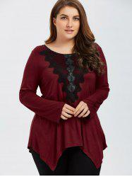 Plus Size Embroidery Trim Asymmetrical T-Shirt