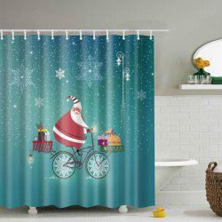 Santa Claus Waterproof Christmas Cartoon Shower Curtain - BLUE L