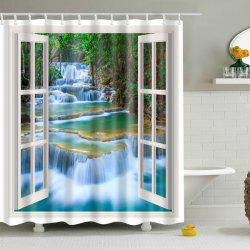 Waterproof Window Landscape Printed Bathroom Shower Curtain -