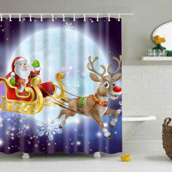 Waterproof Santa Elk Printed Bathroom Christmas Shower Curtain