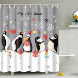 Waterproof Penguin Printed Bath Christmas Shower Curtain - GREY AND WHITE L