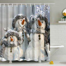 Snowman Printed Fabric Waterproof Shower Curtain - GRAY