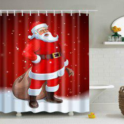 Christmas Waterproof Polyester Santa Claus Bath Curtain - RED L