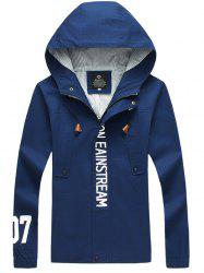 Graphic Elastic Cuff Pocket Zip Up Hooded Jacket -