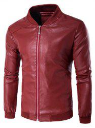 Rib Insert PU Leather Zip Up Jacket - RED