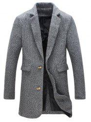 Heathered Flap Pocket Wool Blend Two Button Coat - GRAY 5XL