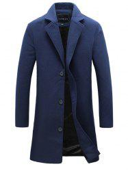 Notch Lapel Single Breasted Plain Wool Blend Coat