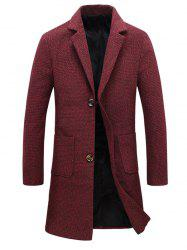 Pocket Heathered Wool Blend Two Button Coat