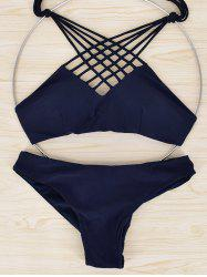 Halter Hollow Out Strappy Bikini -