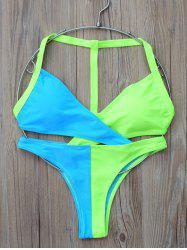 Two Tone Wrap Bikini Set -