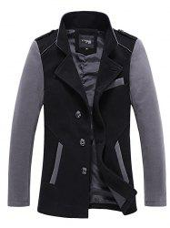 Stand Collar Color Block Panel Wool Blend Jacket -