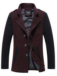 Stand Collar Color Block Panel Wool Blend Jacket