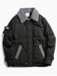 Pocket Design Borg Collar Panel Quilted Jacket - BLACK XL