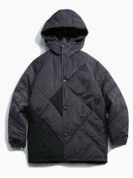 Button Up Panel Hooded Quilted Jacket -