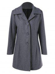 Button Up Vertical Pockets Woolen Coat - GRAY