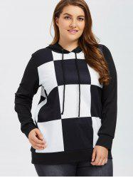 Plus Size Plaid Trim Hoodie -