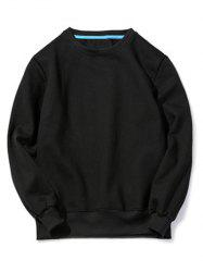 Crew Neck Pullover Sweatshirt in Loose Fit - BLACK XL