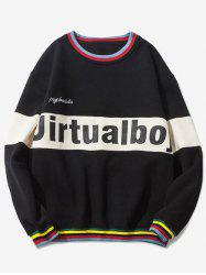 Crew Neck Graphic Printed Striped Pullover Sweatshirt - BLACK
