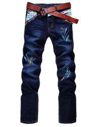 Zip Fly Straight Leg Spray Paint Panel Jeans - DEEP BLUE
