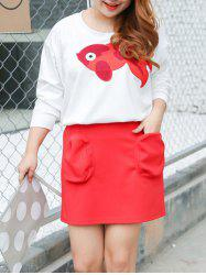 Plus Size Goldfish Embroidery Sweatshirt and Pencil Skirt
