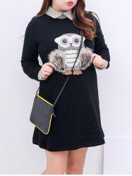 Plus Size Fleece Collared Long Sleeve Dress
