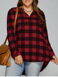 Plus Size Checked High Low Blouse