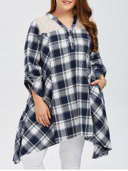 Plus Size Asymmetrical Plaid Smock Blouse