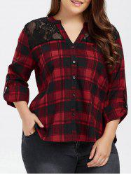 Plus Size Lace Trim Plaid Blouse