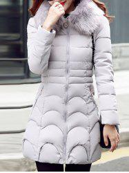 Waved Faux Fur Padded Hooded Down Coat