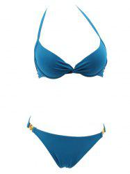 Halter Twist Push Up Bikini Set -