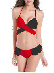 Halter Neck Color Block Ruffled Wrap Bikini