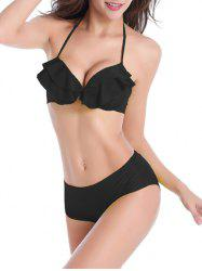 Halter Tied Up Ruffled Bikini Set