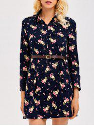 Long Sleeve Short Floral Dress