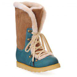 Colour Block Tie Up Metal Snow Boots