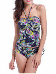 Halter Tribal Paisley Print Bandeau Two Piece Swimsuit