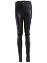 Ripped PU Leather Leggings -
