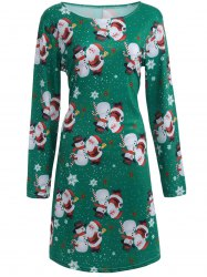 Santa Snowman Print Long Sleeve Christmas Dress