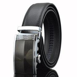 Automatic Buckle PU Leather Wide Belt - BLACK