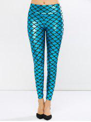 Fish Scale Faux Leather Mermaid Leggings - PEACOCK BLUE