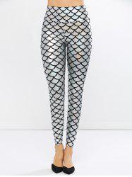 Fish Scale Faux Leather Mermaid Leggings - SILVER