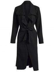 Long Bowknot Lapel Wrap Coat and Belt