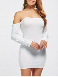 Off Shoulder Long Sleeve Fitted Mini Dress - WHITE XL