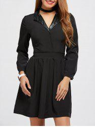 Turn Down Collar A Line Dress -